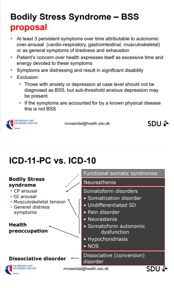 WHO ICD: Bodily Distress Disorder (BDD) and Bodily Stress